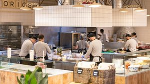 Cocina abierta del restaurante Commons, en el World Trade Center.