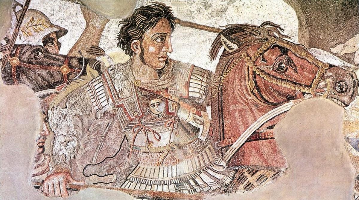Fragmento de un mosaico romano encontrado en Pompeya en el que aparece Alejandro Magno montado en su caballo Bucéfalo.