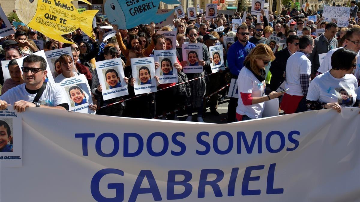 Concentración en Níjar para pedir el regreso de Gabriel, el niño desaparecido el 27de febrero.