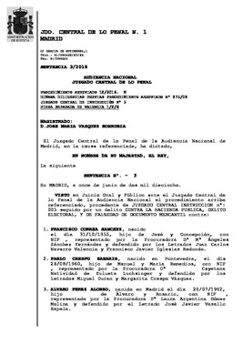 Sentencia de la Audiencia Nacional contra la trama valenciana de 'Gürtel'
