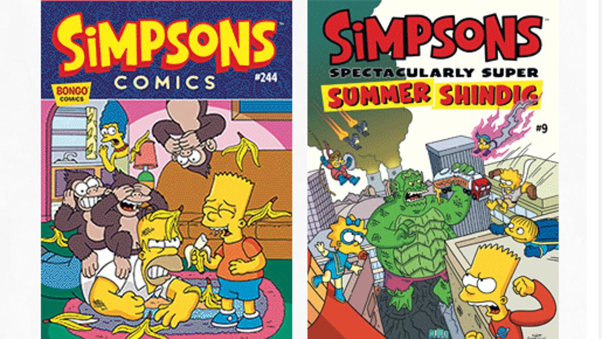 Portadas de dos números de los cómics originales de 'Los Simpson'.