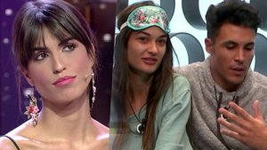 Sofía Suescun en el plató y Estela Grande y Kiko Jiménez en el confesionario de 'GH VIP 7'.