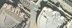 El teatro romano de Palmira, antes y después de los destrozos del Estado Islámico.