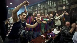 Un Barça-Madrid en un bar de Barcelona.