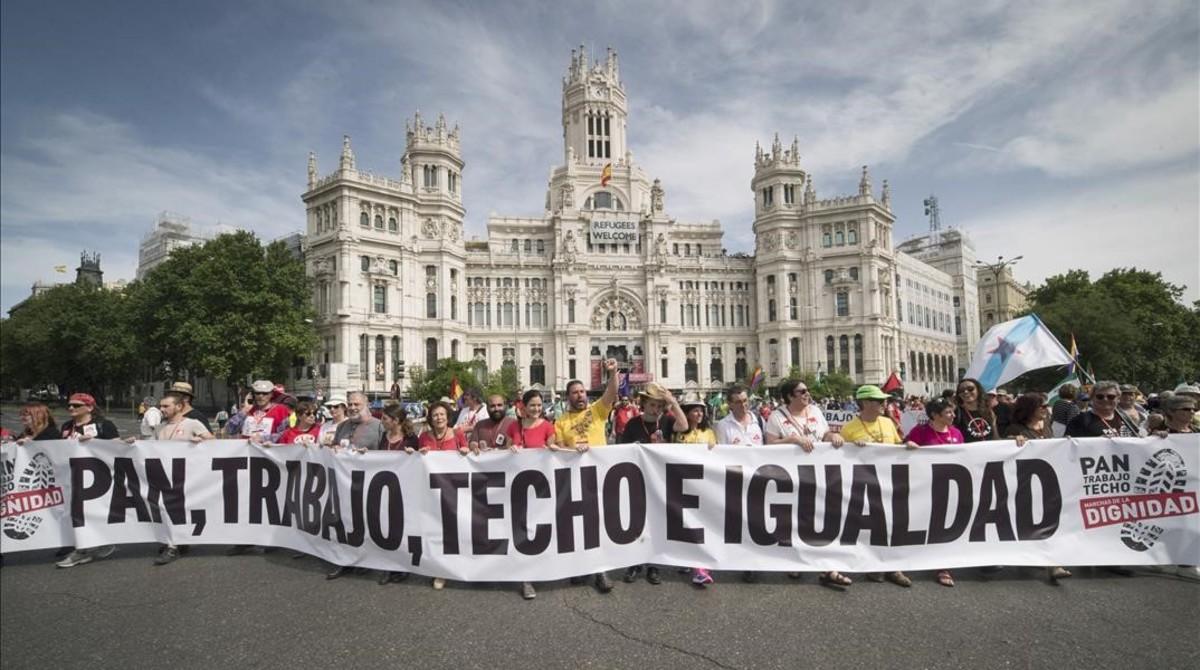 Manifestación de las Marchas de la Dignidad, este sábado en Madrid.