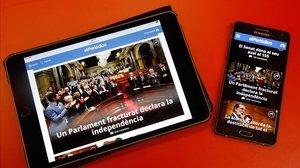 El Periódico de Catalunya en su aplicación para tablet y móvil.