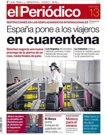 La portada d'EL PERIÓDICO del 13 de maig del 2020