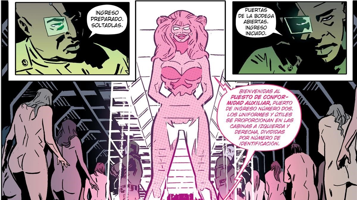 Viñeta de 'Bitch Planet', con guion de Kelly Sue DeConnick.
