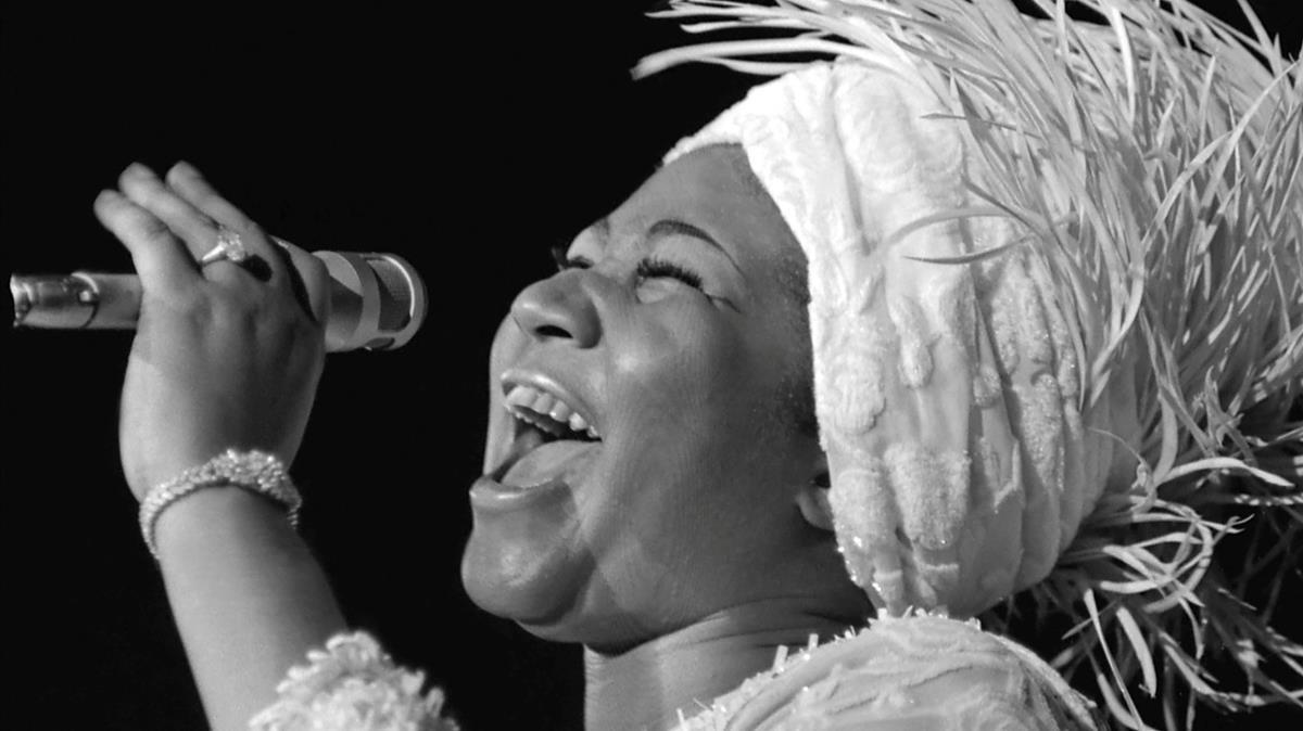 La diva del soulAretha Franklin, durante un concierto en Las Vegas en junio de 1969.