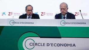 El presidente de la Generalitat, Quim Torra, y el presidente del Cercle dEconomia, Juan Josep Brugera.