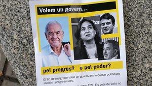 Barcelona en Comú denuncia l'aparició d'uns pamflets contra la investidura de Colau