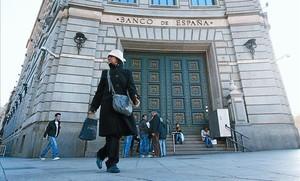 Seu del Banc dEspanya a la plaça de Catalunya, ahir.