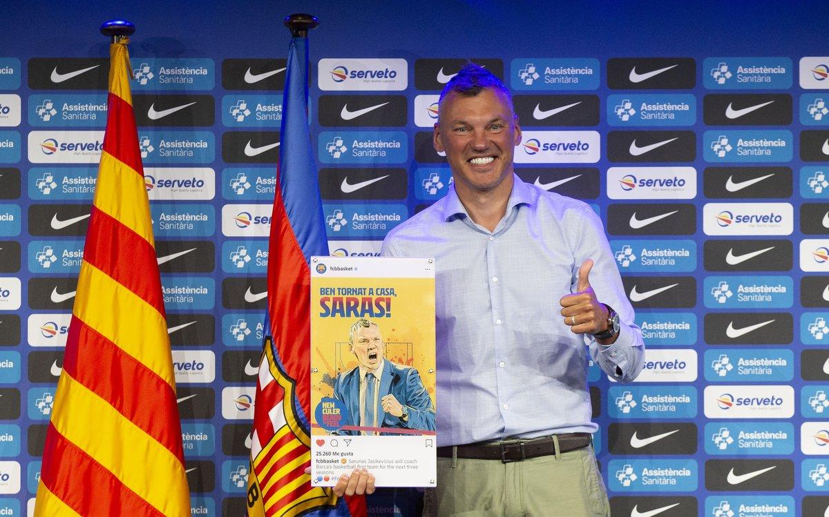 Sarunas Jasikevicius en su presentación como entrenador del Barça.
