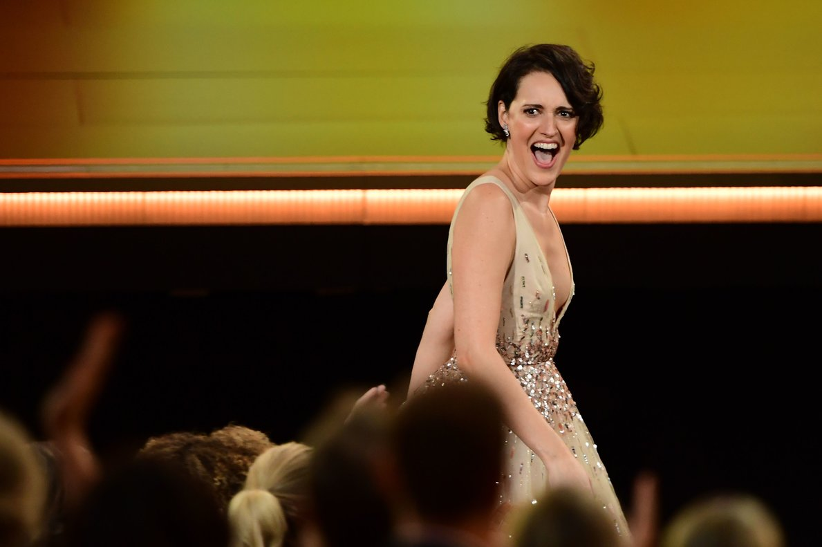 British actress Phoebe Waller-Bridge walks to accept the Outstanding Lead Actress in a Comedy Series award for Fleabag onstage during the 71st Emmy Awards at the Microsoft Theatre in Los Angeles on September 22, 2019. (Photo by Frederic J. BROWN / AFP)