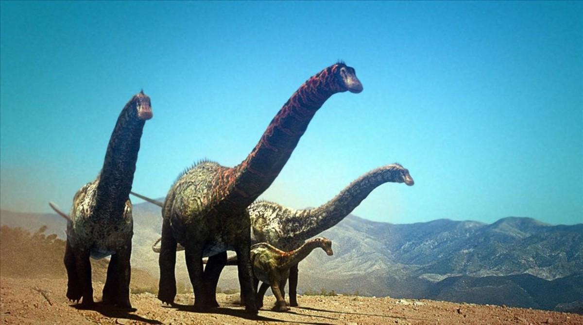 Reconstrucción de un grupo de saurópodos para un documental televisivo de Discovery Max.