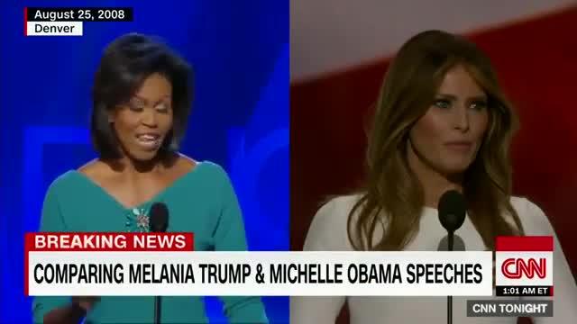 Vídeo en que muestra como Melania Trump plagió a Michelle Obama.