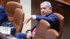 Binyamin Netanyahu en el Parlamento tras la aprobación de la ley del estado-nación.