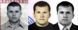 This undated handout image issued by Bellingcat shows photos of Dr Alexander Yevgenyevich Mishkin, the man the investigative website have alleged was who travelled to Salisbury under the alias Alexander Petrov, over the years. The investigative group Bellingcat is reporting that one of the two suspects in the poisoning of an ex-spy in England is a doctor who works for Russian military intelligence. (Bellingcat via AP)