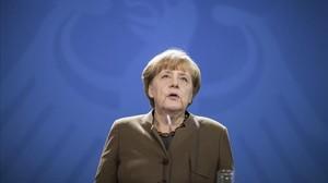 La cancillera alemana, Angela Merkel, antes de una rueda de prensa en Berlín.