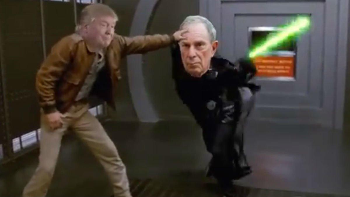 Captura de la escena en la que Trump se mofa de Bloomberg parodiando una mítica lucha en 'Star Wars'.