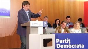 Carles Puigdemont durante su intervención en el consejo del PDeCat.