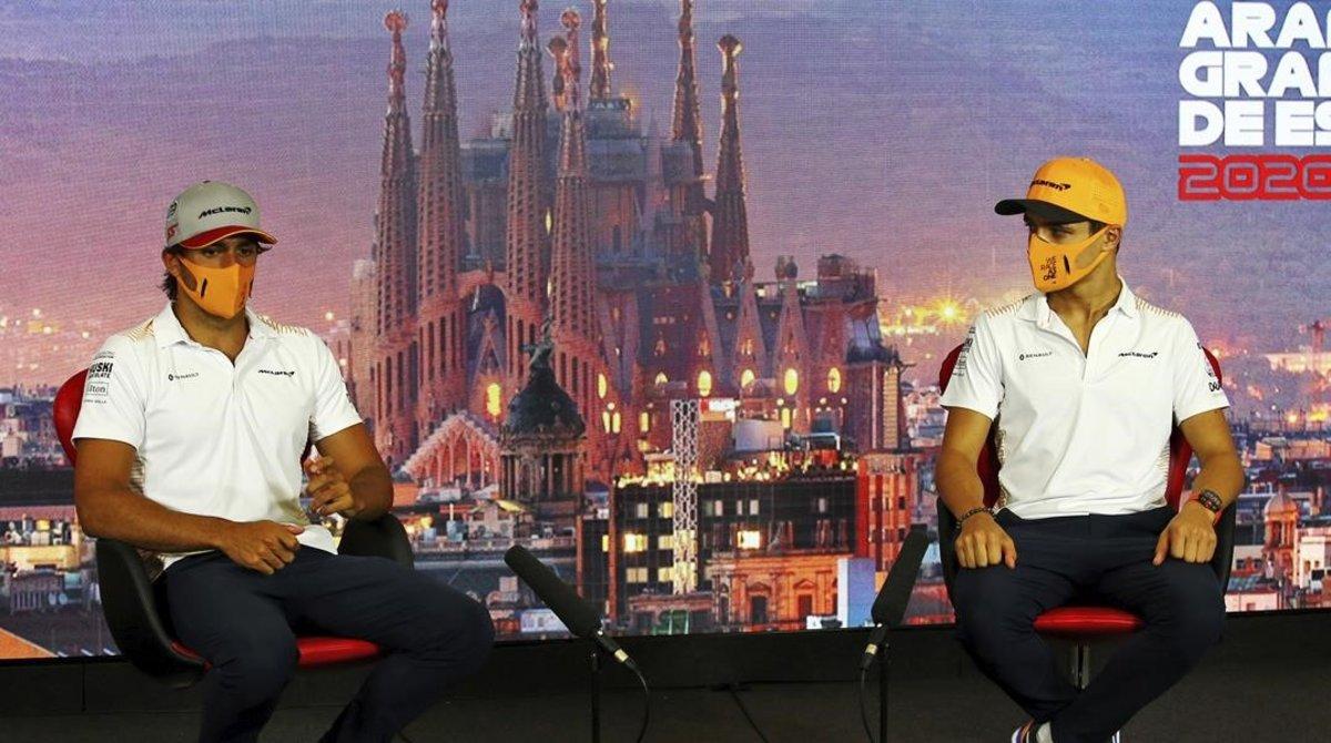 Carlos Sainz y Lando Norris, pareja de McLaren, en Barcelona.