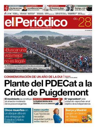 La portada de EL PERIÓDICO del 28 d'octubre del 2018