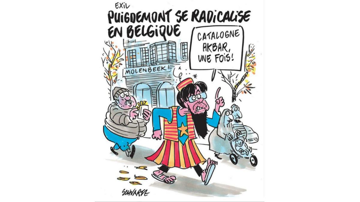 Puigdemont se radicaliza en Bélgica, la caricatura de Charlie Hebdo al expresident.