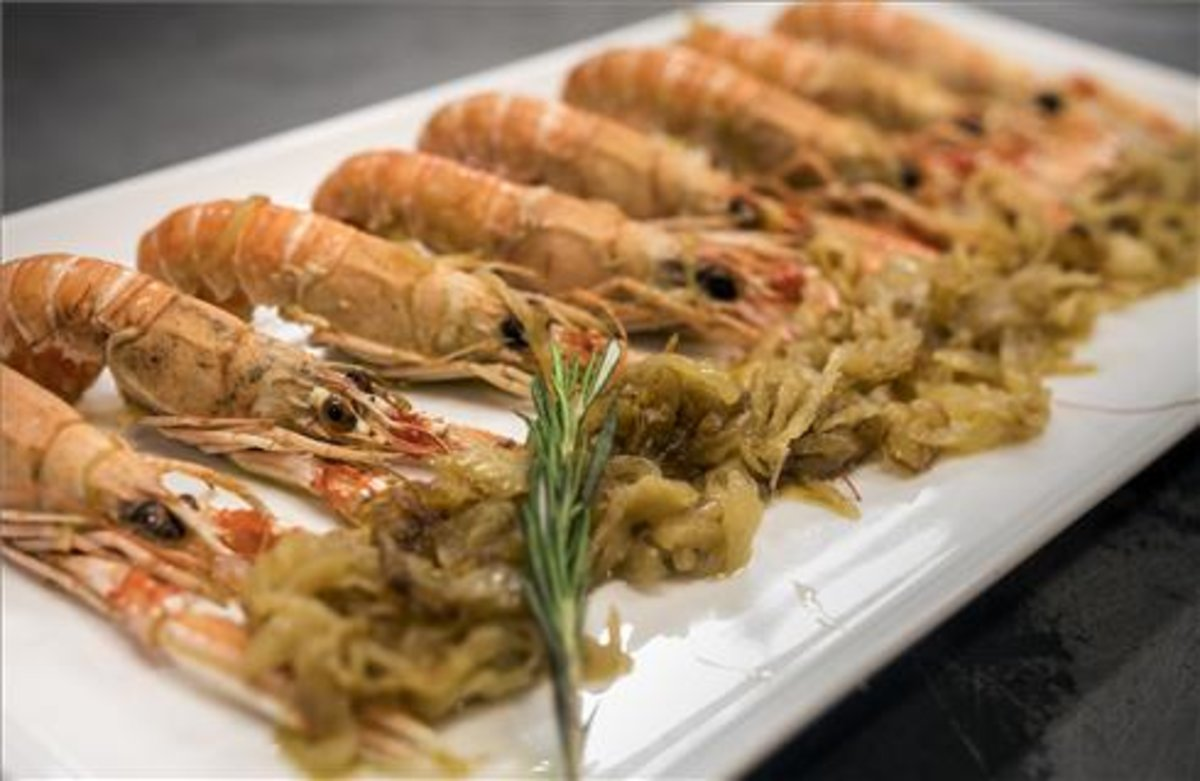 Cigalas concebolla caramelizada del restaurante Passadís del Pep.
