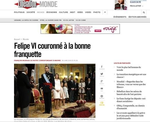 Capçalera Libération es fa ressò de la coronació de Felip VI.