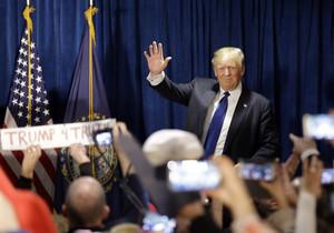 Donald Trump celebra su victoria en las primarias de New Hampshire.