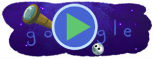 Imagen del doodle dedicado al descubrimiento de los siete exoplanetas similares a la Tierra.
