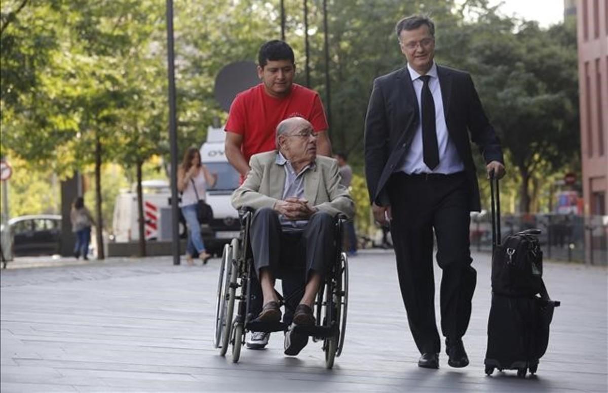 Fèlix Millet llega al último día del juicio del 'caso Palau', en la Ciutat de la Justícia.