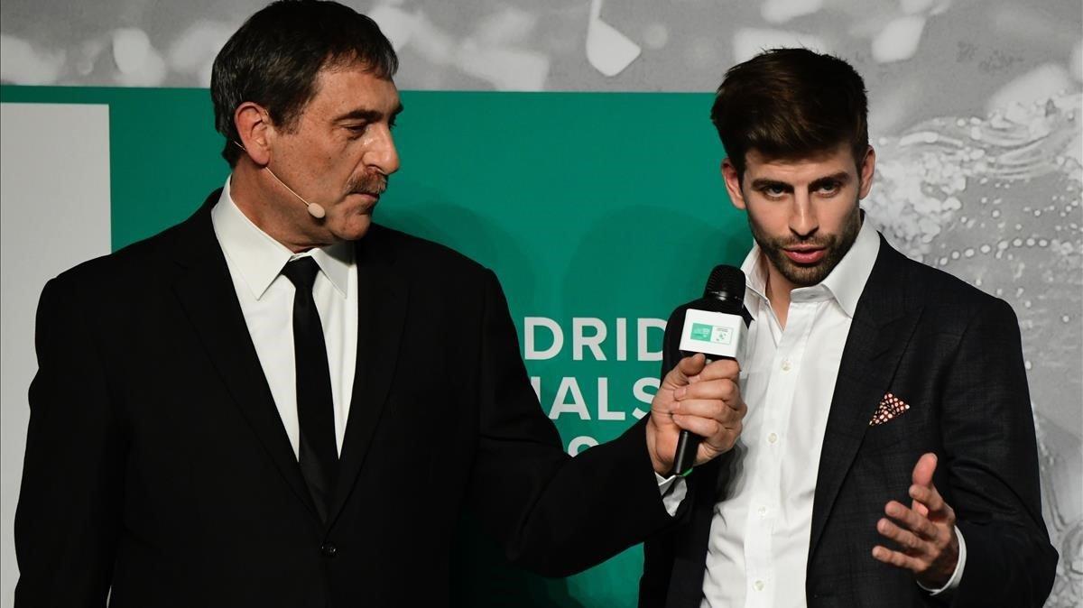 Gerard Piqué, en el sorteo celebrado en Madrid de la nueva Davis.