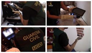 Imágenes facilitadas por la Guardia Civil de agentes incautándose de material de pornografía infantil.