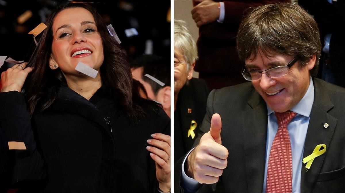 Inés Arrimadas y Carles Puigdemont.