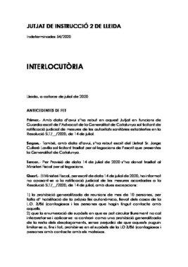 Interlocutoria del juzgado de guardia de Lleida sobre las medidas del Govern contra el covid-19