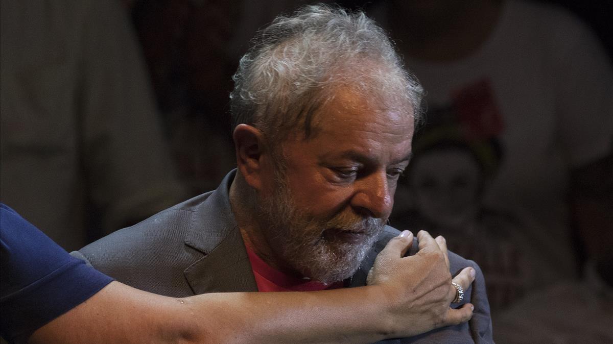Lula, en un mitin el pasado lunes, en Río de Janeiro.