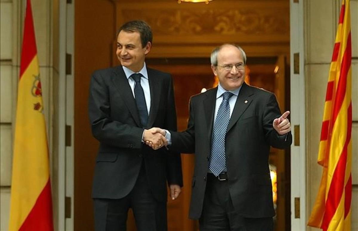 José Luis Rodríguez Zapatero y José Montilla, el 8 de enero del 2007.