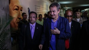 José Luis Rodríguez Zapatero a su llegada al aeropuerto de Maiquetía en Caracas.