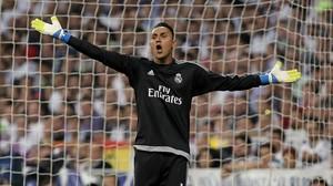 Keylor Navas, durante el partido de semifinal de Champions ante el Manchester City,