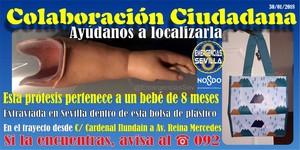 Las redes se vuelcan para encontrar una prótesis de bebé perdida en Sevilla