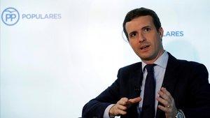 El líder del PP, Pablo Casado, en la entrevista con la agencia Efe.