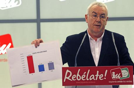 El líder d'Izquierda Unida, Cayo Lara, durant la roda de premsa que ha ofert aquest dilluns, a Madrid.