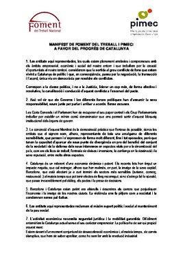 Manifiesto de Foment y Pimec A favor del progreso de Catalunya