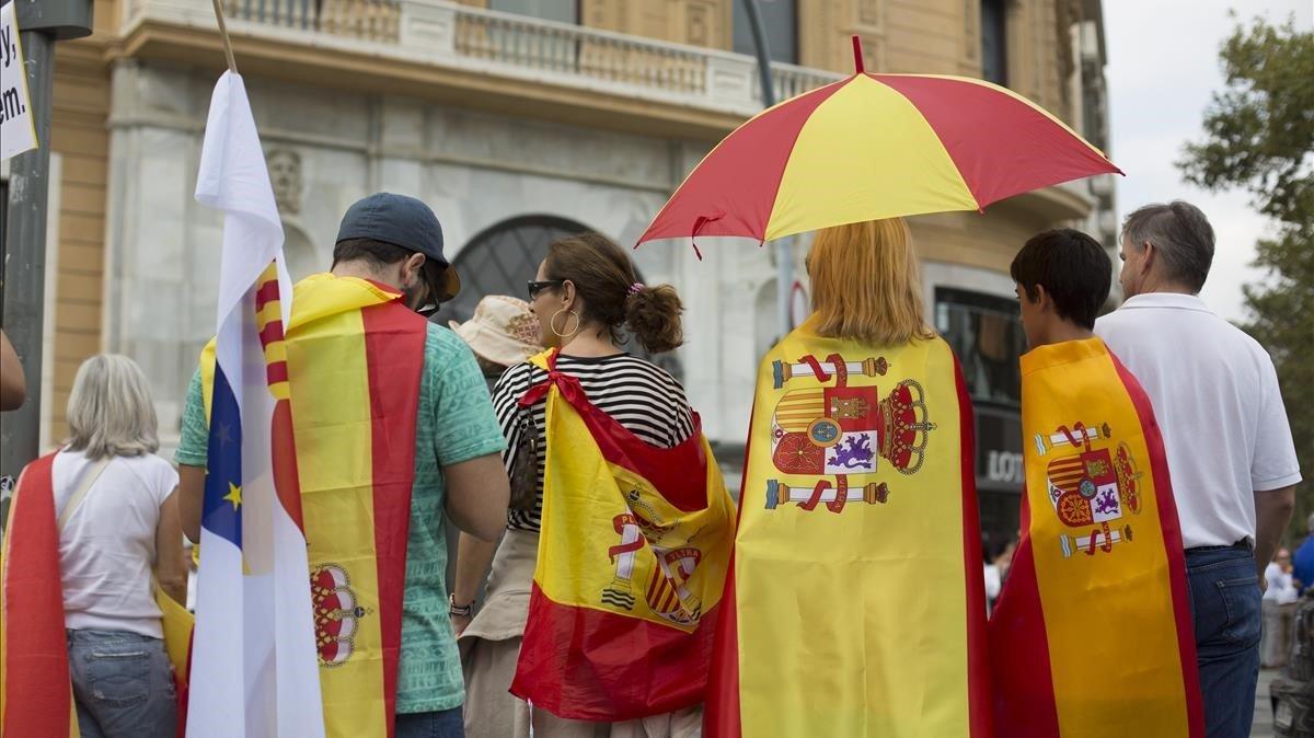 Manifestación españolista del Día de la Hispanidad del 2017.