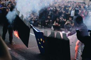 Manifestación de la izquierda independentista durante la Diada.