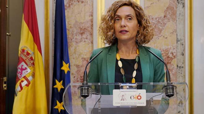 La Mesa del Congreso suspende a los cuatro diputados catalanes presos. En la foto, Meritxell Batet.
