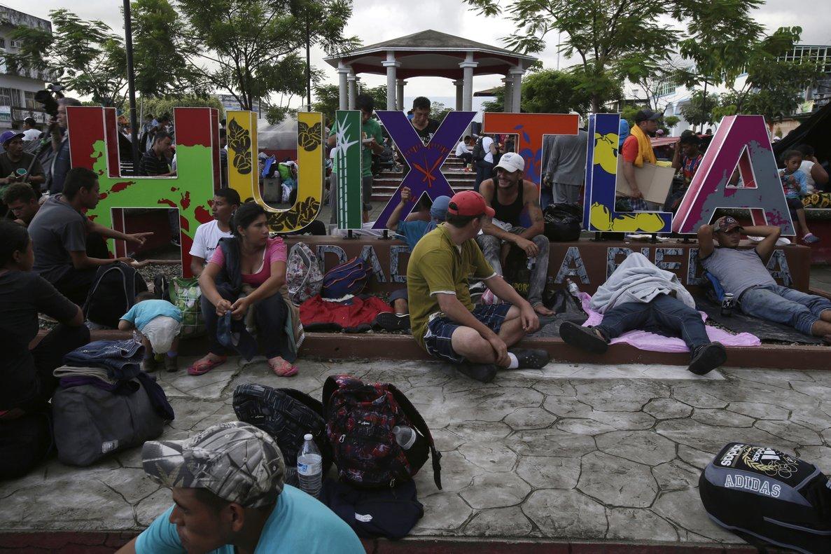 Inmigrantes centroamericanos en su paso por el estado de Chiapas, México.