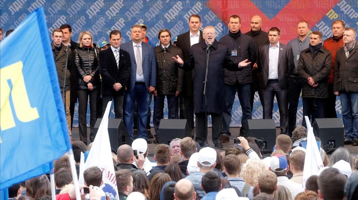 Mitin del líder ultranacionalista Vladímir Jirinovski en Moscú.